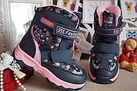 Зимние термоботинки, ботинки на девочку на липучках, синие, от Том.М 28.29, фото 1