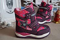 Зимние термоботинки, ботинки на девочку на липучках розовые Том.М 25.28