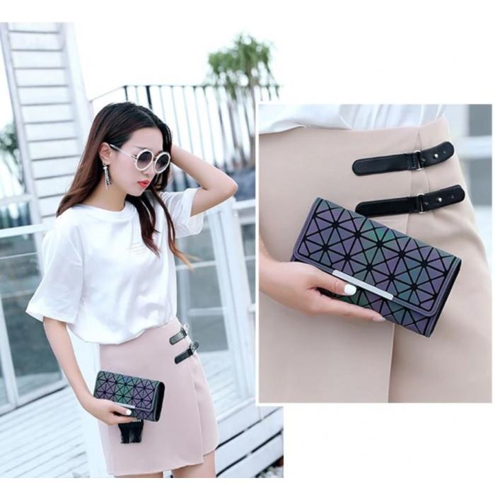 Кошелек геометрический в корейском стиле, бумажник, портмоне с геометрическим рисунком