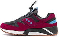Мужские кроссовки Saucony Grid 9000 бордового цвета
