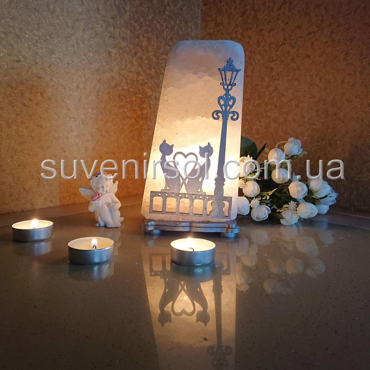 Соляной светильник Фонарь+котыцветной
