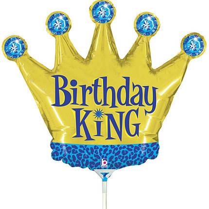 Фол шар МИНИ-ФИГУРА ХБ Корона золотая Birthday King (Грабо), фото 2