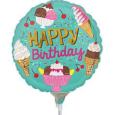 Мини-фигура ANAGRAM-АН Круг Happy Birthday - мороженое на голубом