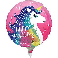 Мини-фигура ANAGRAM-АН Круг Happy Birthday - единорог на розовом
