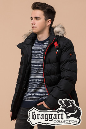 Черная подростковая зимняя куртка Braggart Teenager (р. 40, 42, 44, 46) арт. 73563V
