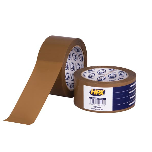 """Упаковочная клейкая лента HPX (скотч) """"Бесшумная"""", коричневая - 50мм х 66м"""