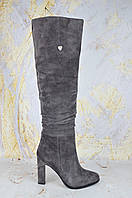 Серые сапоги женские на каблуке Mea Balan