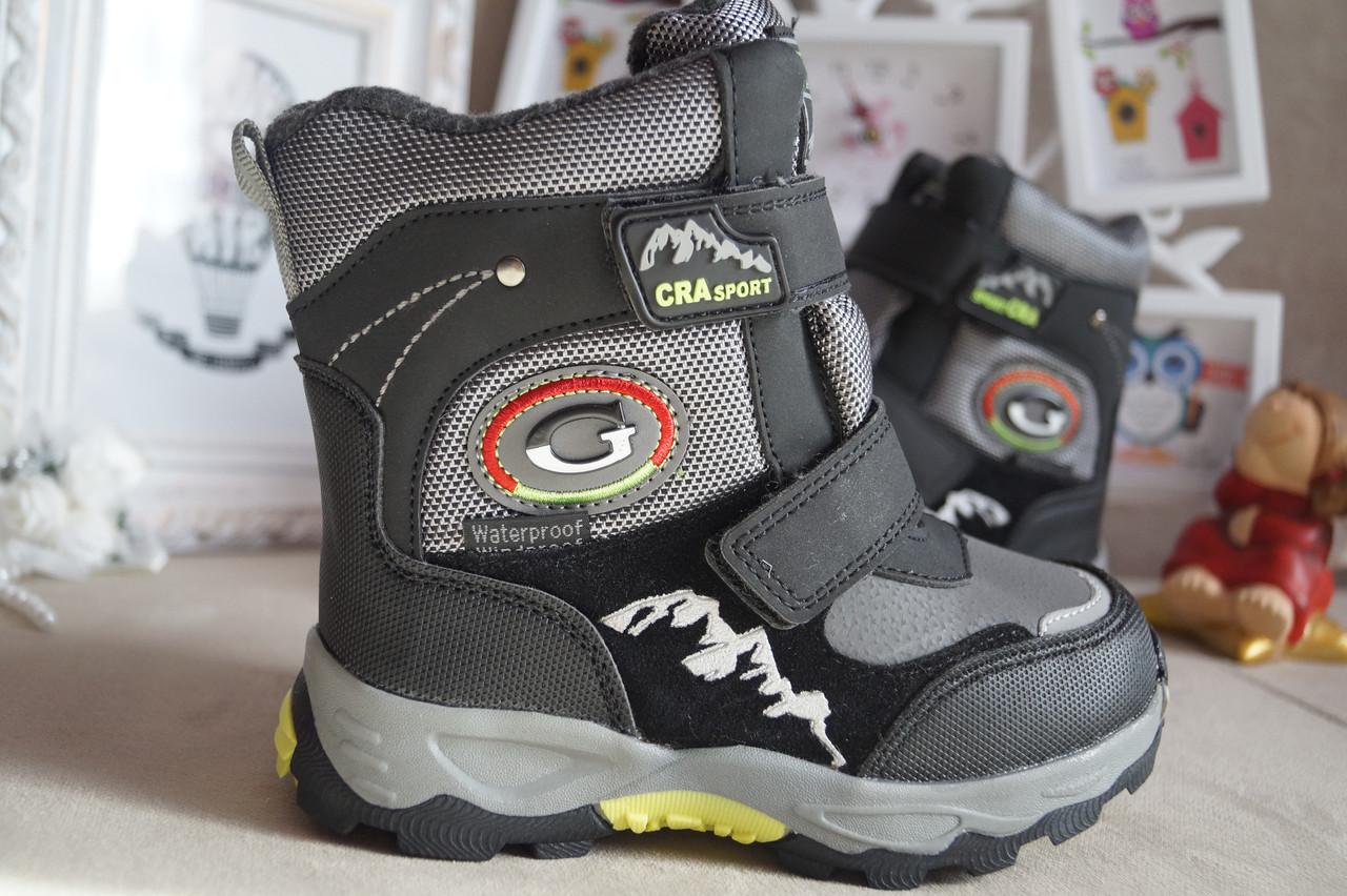 Зимние термоботинки, ботинки на мальчика серые на липучках Том.м. 27.28.31.