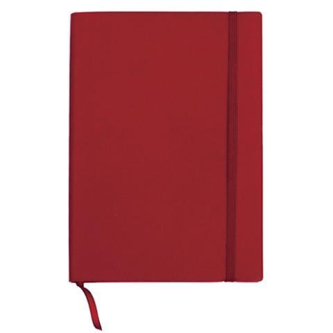Блокнот деловой А5, 96л., линия, обложка искусственная кожа, красный