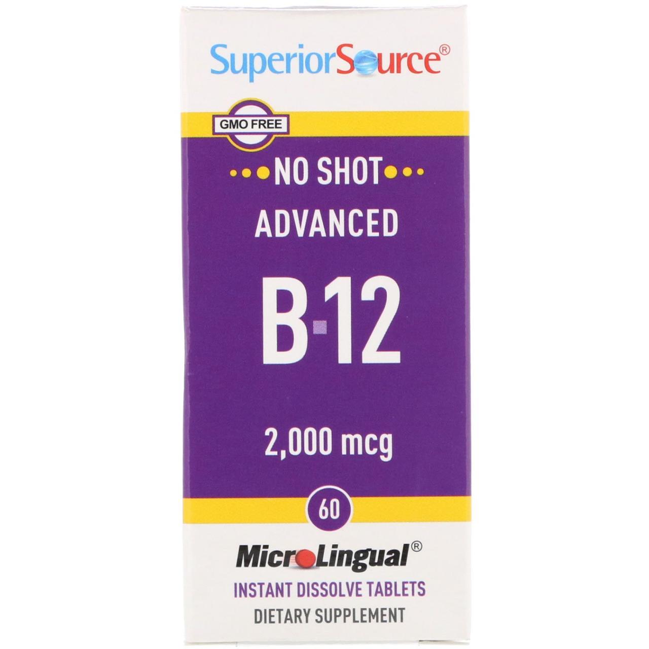 Улучшенный витамин B-12 от Superior Source, 2.000 мкг, 60 микролигвальных быстрорастворимых таблеток