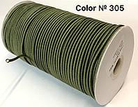 Резинка круглая «Шляпная» цвет хаки .Диаметр 3 мм. Длина 100 м.