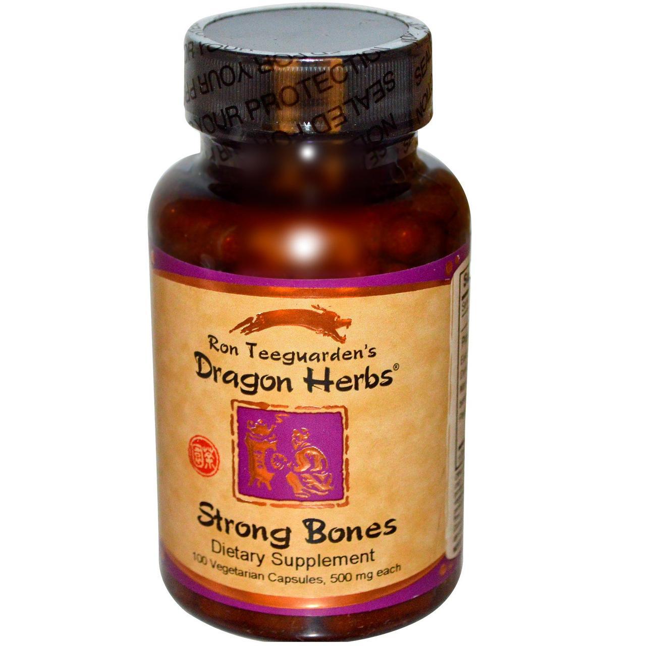 Пищевая добавка для сильных костей от Dragon Herbs, 500 мг, 100 растительных капсул