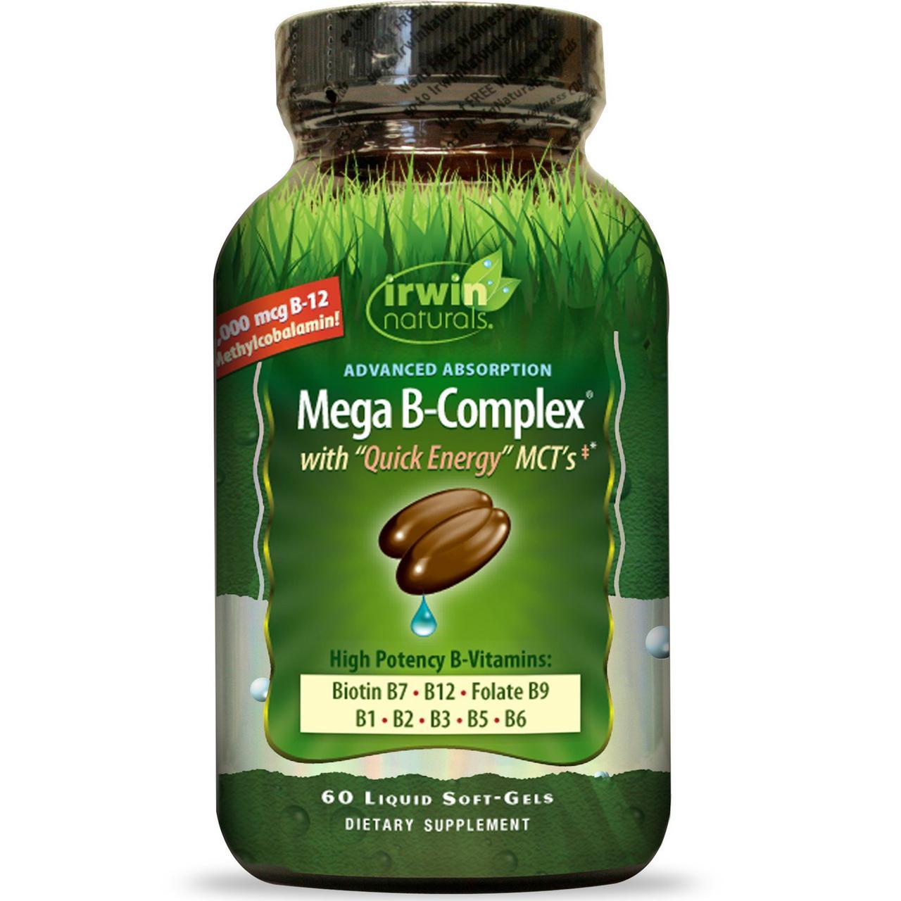 Мега-комплекс витаминов B с быстрой энергией ТСЦ от Irwin Naturals, 60 жидкостных желатиновых капсул