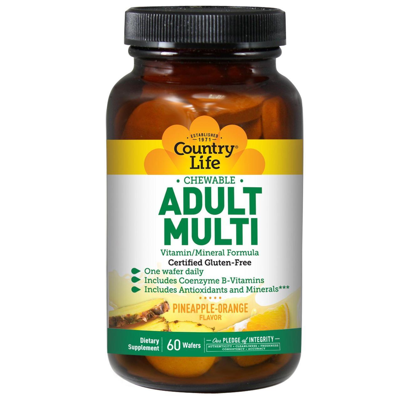 """Жевательные мультивитамины для взрослых """"Adult Multi"""" от Country Life, вкус ананаса и апельсина, 60 пастилок"""