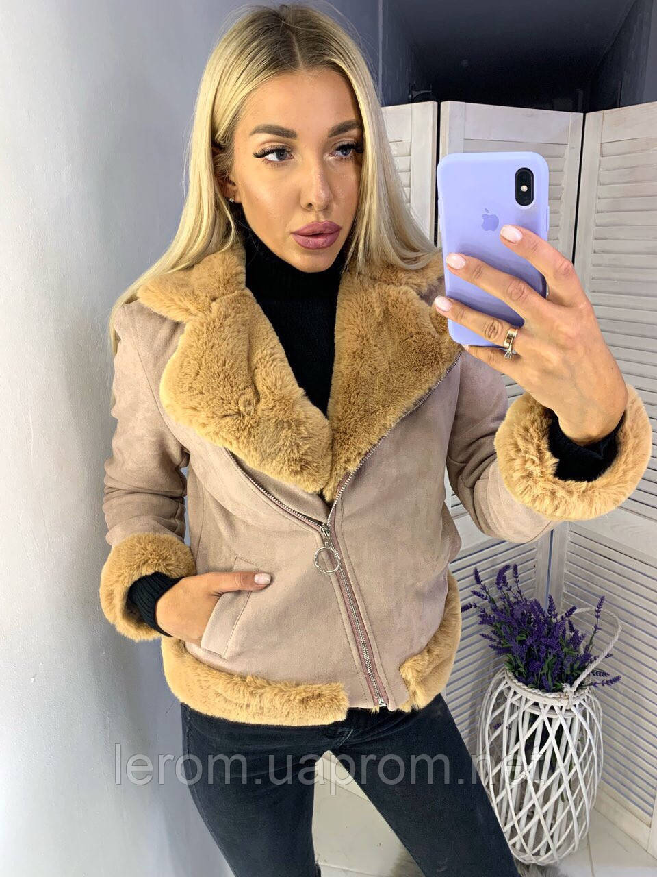 Модная короткая дубленка 2019/20 с теплой подкладкой