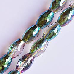 Бусины хрустальные граненные прозрачные с радужным напылением, диаметр 8х12мм нитка, длина 70см