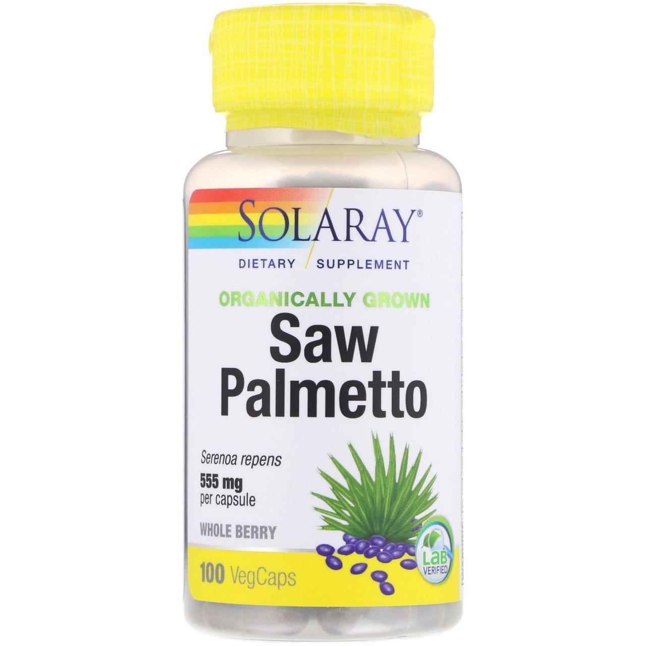 Органически выращенная сереноя от Solaray, 555 мг, 100 капсул с растительной оболочкой