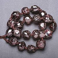 Заготовка под бусы натуральный камень Гранат крупная галтовка, диаметр 16х20мм(+-) нитка, длина 45см (+-)