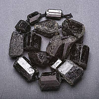Заготовка под бусы натуральный камень Турмалин Шерл на увеличение крупная галтовка, диаметр 12-30мм(+-) нитка, длина 45см (+-)