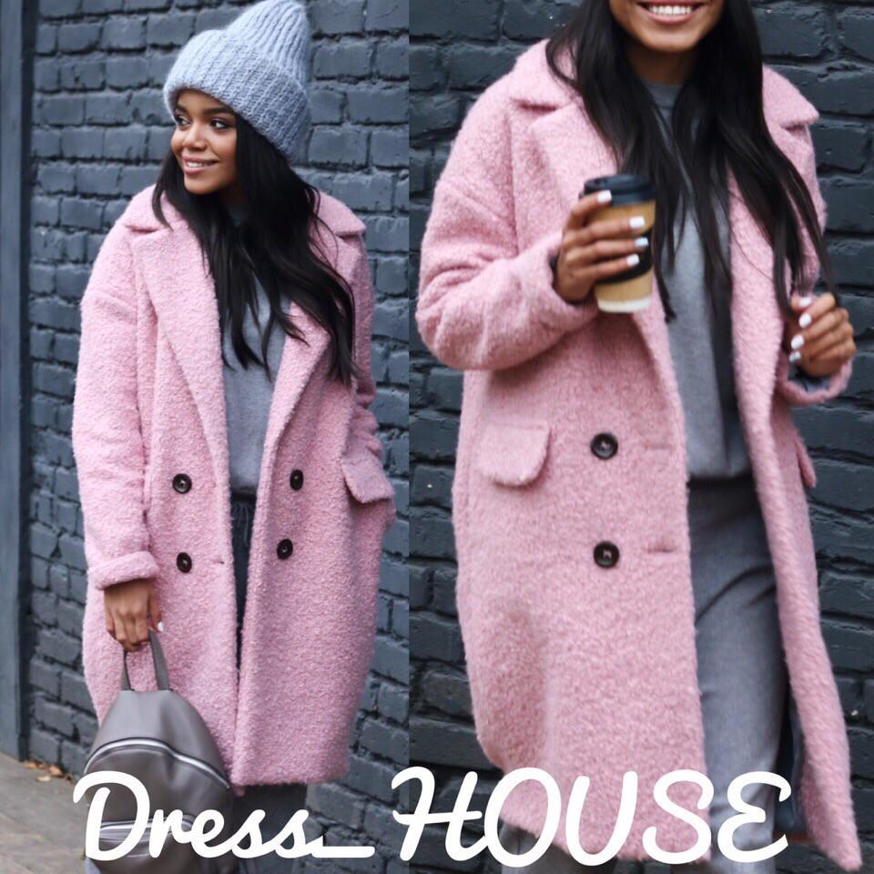 Теплое женское пальто с карманами,в расцветках