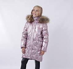 Дитячий зимовий комбінезон для дівчинки від ANERNUO 19216 | 116-140р. рожевий, фото 2