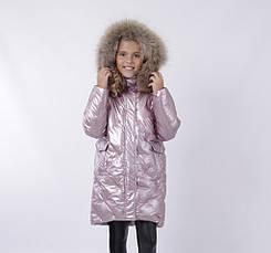 Дитячий зимовий комбінезон для дівчинки від ANERNUO 19216 | 116-140р. рожевий, фото 3