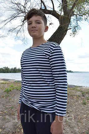 Тельняшка подростковая хлопковая теплая полотно начес, фото 2