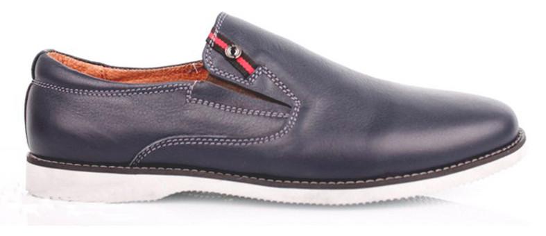 Кожаные синие мужские туфли на белой подошве  KONORS 1143-7-42  скидка