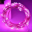 Светодиодная гирлянда LTL нить капля росы 100 led, 10 метров c пультом розовая Pink, батарейки, фото 3