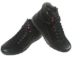 Черные зимние кожаные ботинки на меху