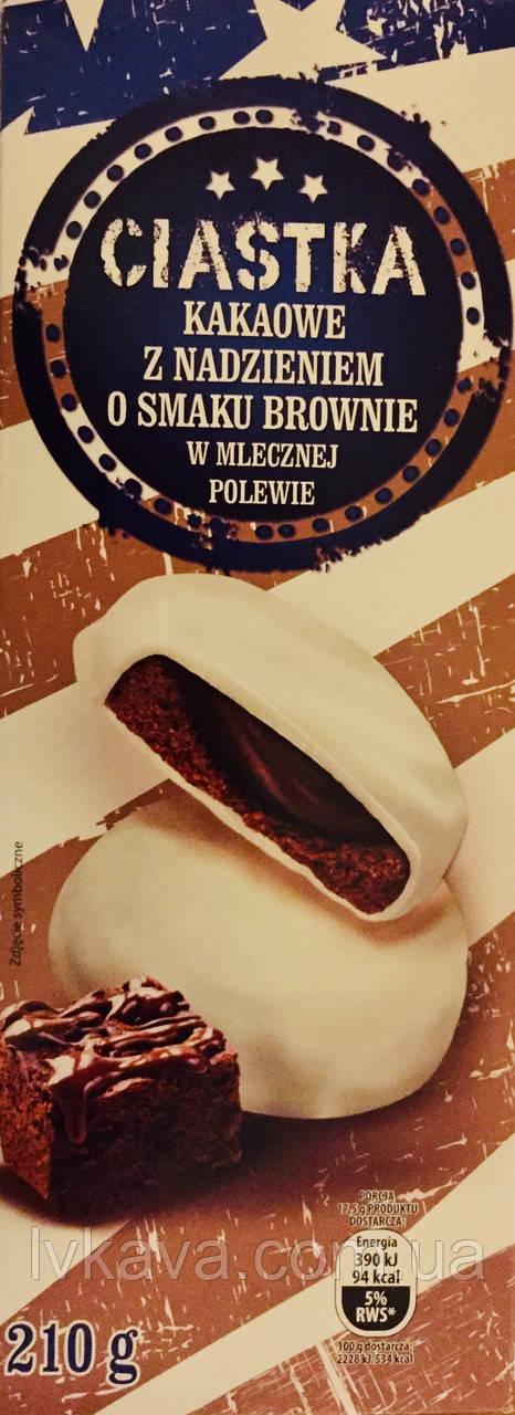 Печенье Bonitki Ciastka шоколадное с начинкой брауни в молочной глазури, 210 гр