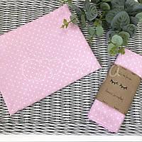 Пеленка бязь Белые горошки на розовом