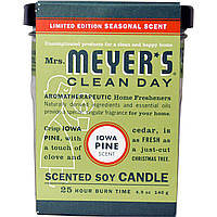 Mrs. Meyers Clean Day, Ароматические соевые свечи, Сосновый аромат Айовы, 4,9 унции (140 г)