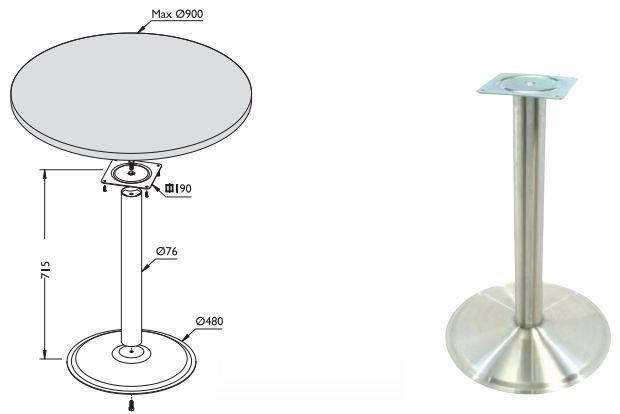 Основание хромированное для стола ТУР 460 (основание, подстолье, опора, основа)