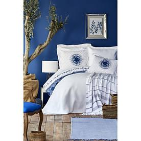 Набор постельное белье с покрывалом + пике Karaca Home - Belina mavi 2019-2 голубой евро