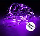 Светодиодная гирлянда LTL нить капля росы 100 led, 10 метров c пультом фиолетовая Purple, батарейки, фото 2