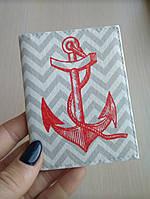 Кожаная обложка для прав и айди id внутреннего пластикового паспорта в морском стиле якорь