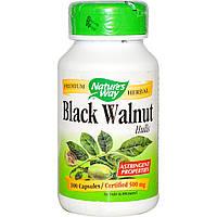 Nature's Way, Черный орех, отруби, 500 мг, 100 капсул