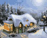 Картина раскраска по номерам Зимний вечер 50х40 см
