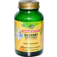 Solgar, Экстракт ягоды черники, 60 капсул на растительной основе