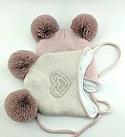 Оптом шапка детская с 48 по 52 размер ангора помпонами шапки головные уборы детские опт, фото 1