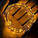 Светодиодная гирлянда LTL нить капля росы 100 led, 10 метров c пультом теплая золотая Warm Gold, батарейки, фото 3
