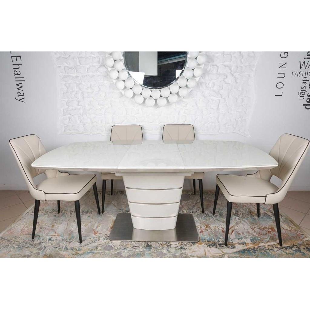 Atlanta (Атланта) стол раскладной 140-180 см крем глянец