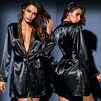 Женский атласный халат с длинным рукавом черный