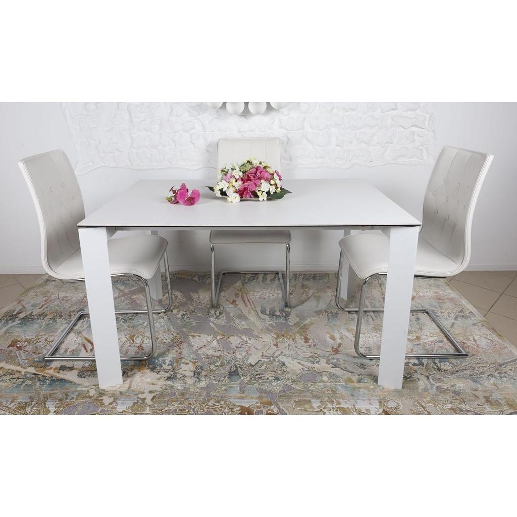 Bristol B (Бристоль) стол раскладной 130-200 см стеклокерамика белый