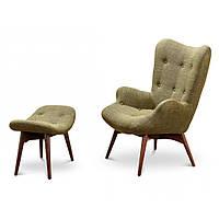 Contour (Контур) кресло + оттоманка текстиль зелёный