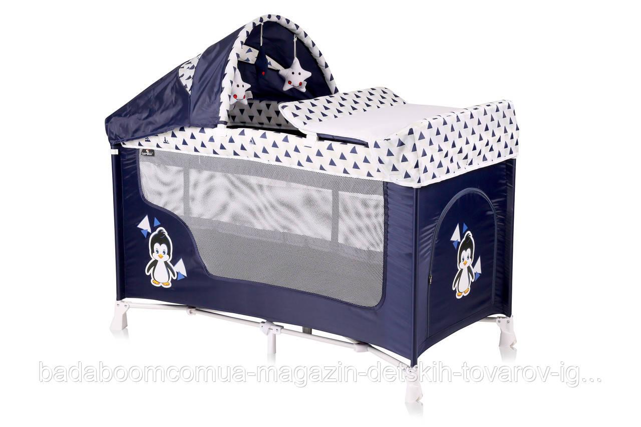 Кровать - манеж LORELLI San remo 2 plus blue&white penguin