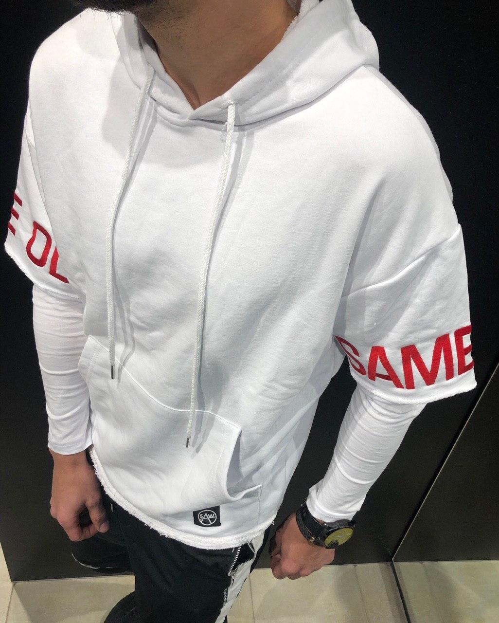 😜 Худи - Белая мужская худи с надписями на рукавах
