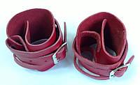 Напульсники кожаные безразмерные (2 шт, кожа, бордовые)