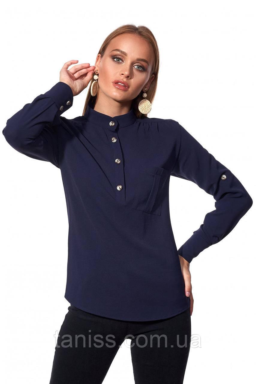 Офисная,деловая.строгая рубашка, застежка-поло,ткань вискоза креп,размеры 42,48,50,52 темно-синий